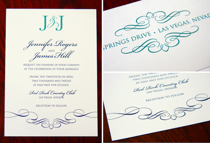 Classic Teal and Navy Wedding Invitation