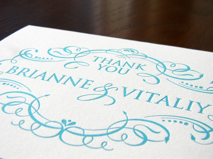 Couture Letterpress Thank You Note for Brianne and Vitaliy