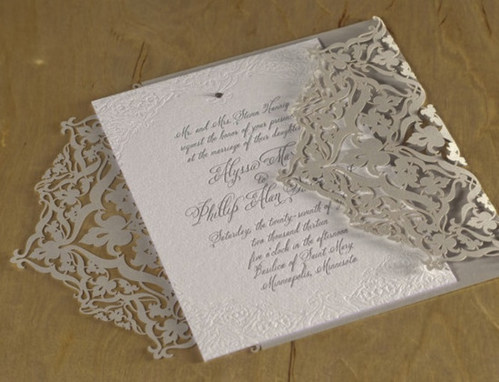 Spark Letterpress and Laser Cut Wedding Invitation