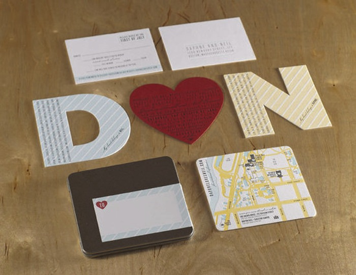 Spark Die-Cut Heart and Letter Wedding Invitation Suite