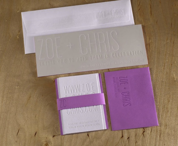 Spark Purple, Gray, and White Letterpress Wedding Stationery Suite