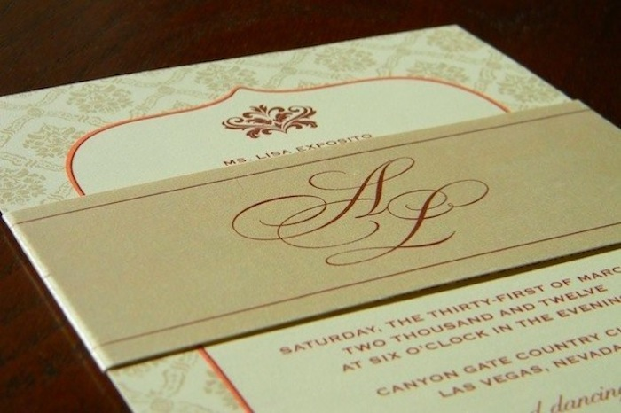Couture Damask Wedding Invitation with Belly Band