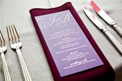 Couture Purple Monogram Menu Card