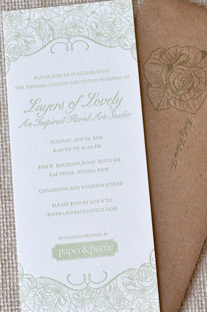 Letterpress Floral Party Invitation