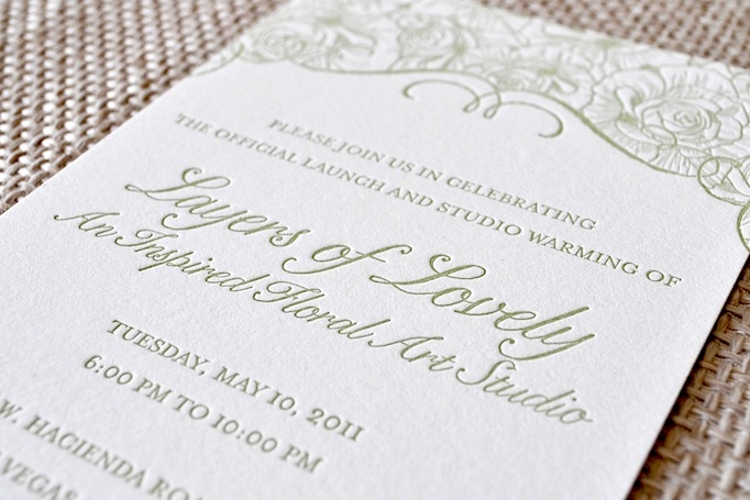 Layers of Lovely Letterpress Party Invitation