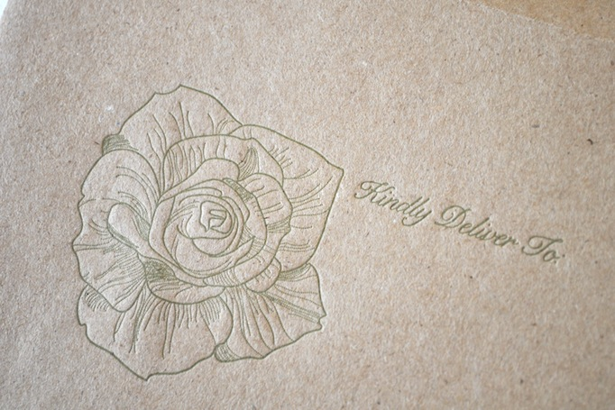 Rose Letterpress Kraft Envelope