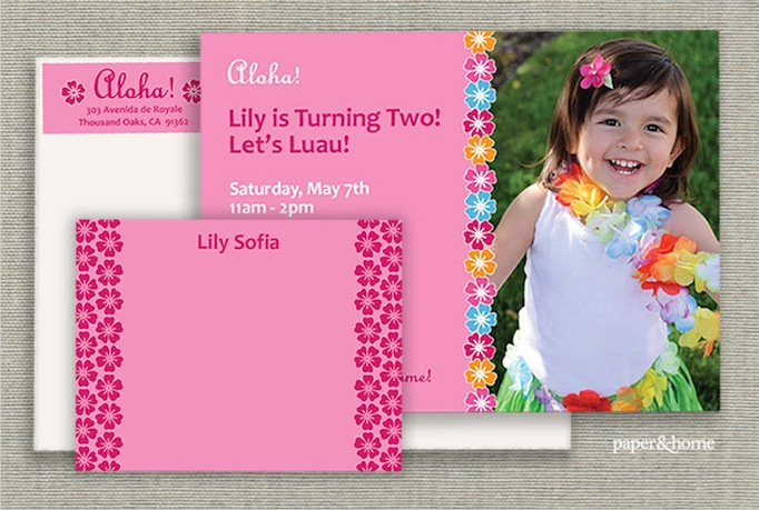 Lily's Luau Party Invitation