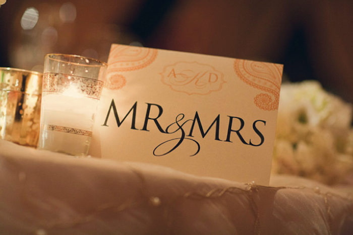 Paisley Monogrammed Mr. & Mrs. Sign