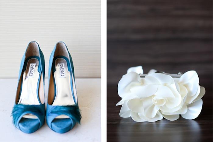 Details: Blue High Heels and Wedding Garter