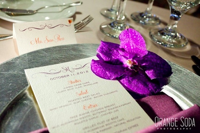 Couture Tangerine and Eggplant Menu Card and Escort Card