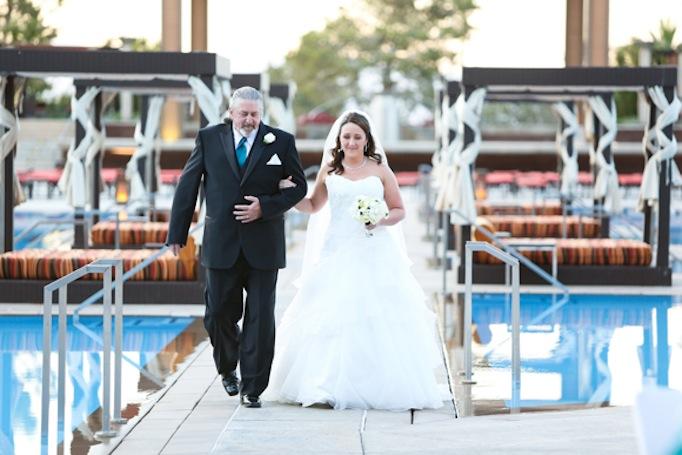 Dad walking daughter down the aisle at M Resort Las Vegas