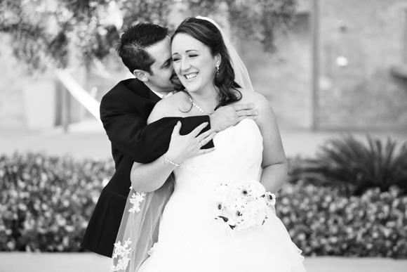 Jennifer & Chris Embrace at M Resort Wedding Las Vegas