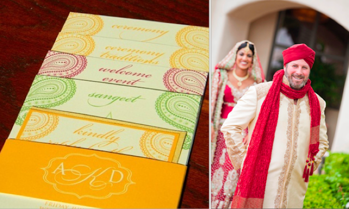 Tiered Indian Wedding Invitation plus Bride and Groom