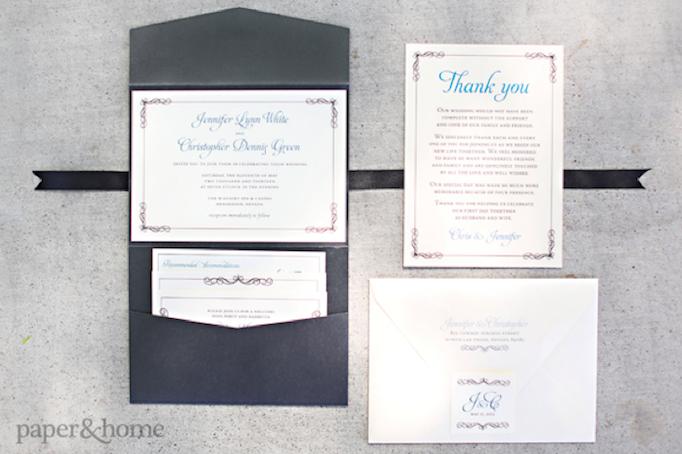 Black Shimmer Pocket Wedding Invitation Suite