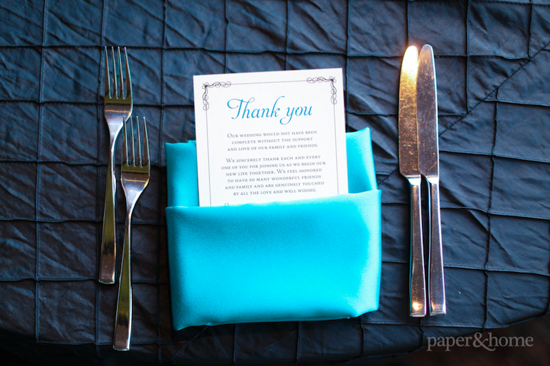 Couture Black and Teal Elegant Thank You Card