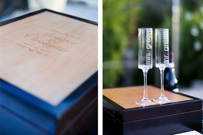 Custom winebox with couples logo designed by Paper and Home