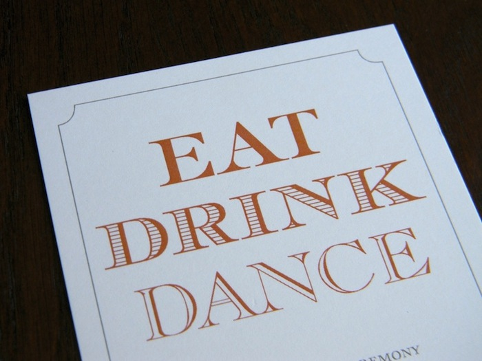 Eat Drink Dance Reception Card