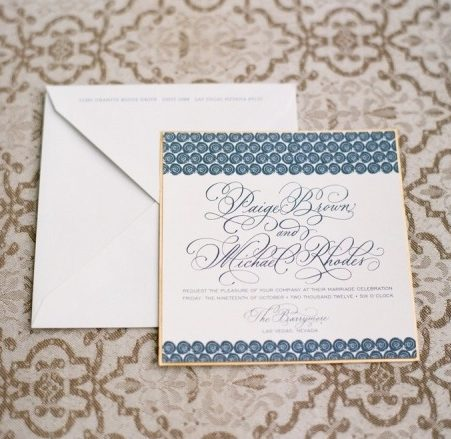 Hand Calligraphy Wedding Invitation Mounted on Gold Paper with Blue Swirls