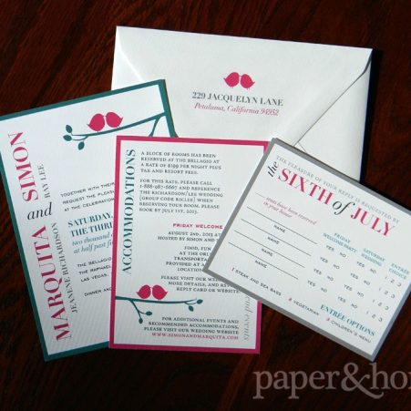 Modern colorful typography wedding invitation suite