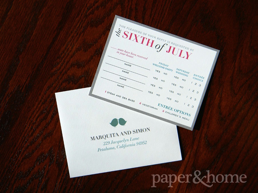 Modern colorful typography reply card with lovebird envelope