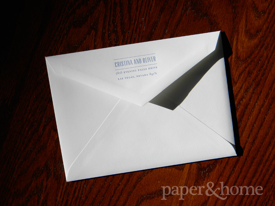 Letterpress White Envelope with Blue and Gray Ink
