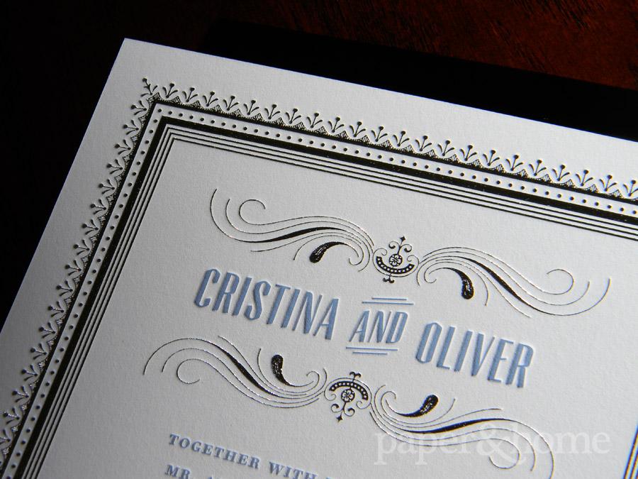 Blue Letterpress and Silver Foil Wedding Invitation Detail