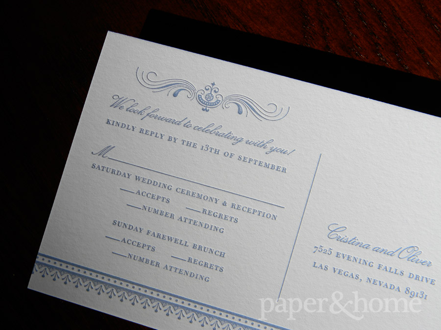 Blue Letterpress and Foil Reply Post Card