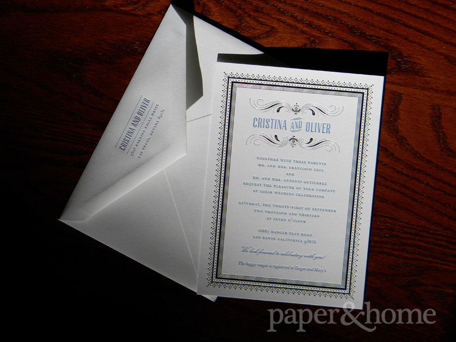 Blue Letterpress and Foil Wedding Invitation and Matching Envelope