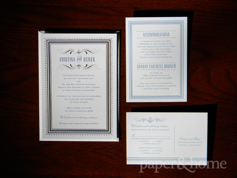 Elegant and Classic Blue Letterpress and Foil Wedding Invitation Suite