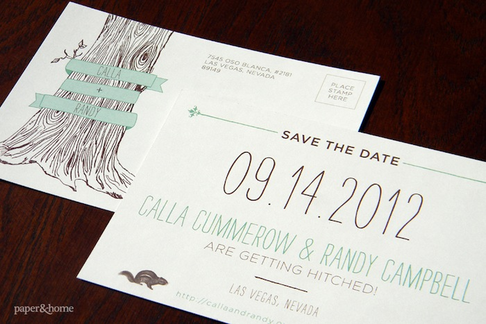 woodsy hand drawn save the date wedding stationery