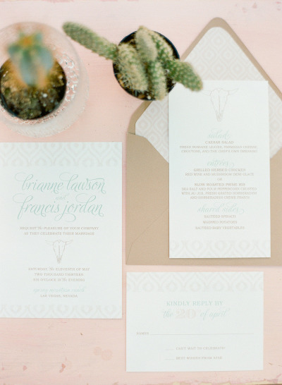 Desert Chic Wedding Invitation Suite by Paper and Home