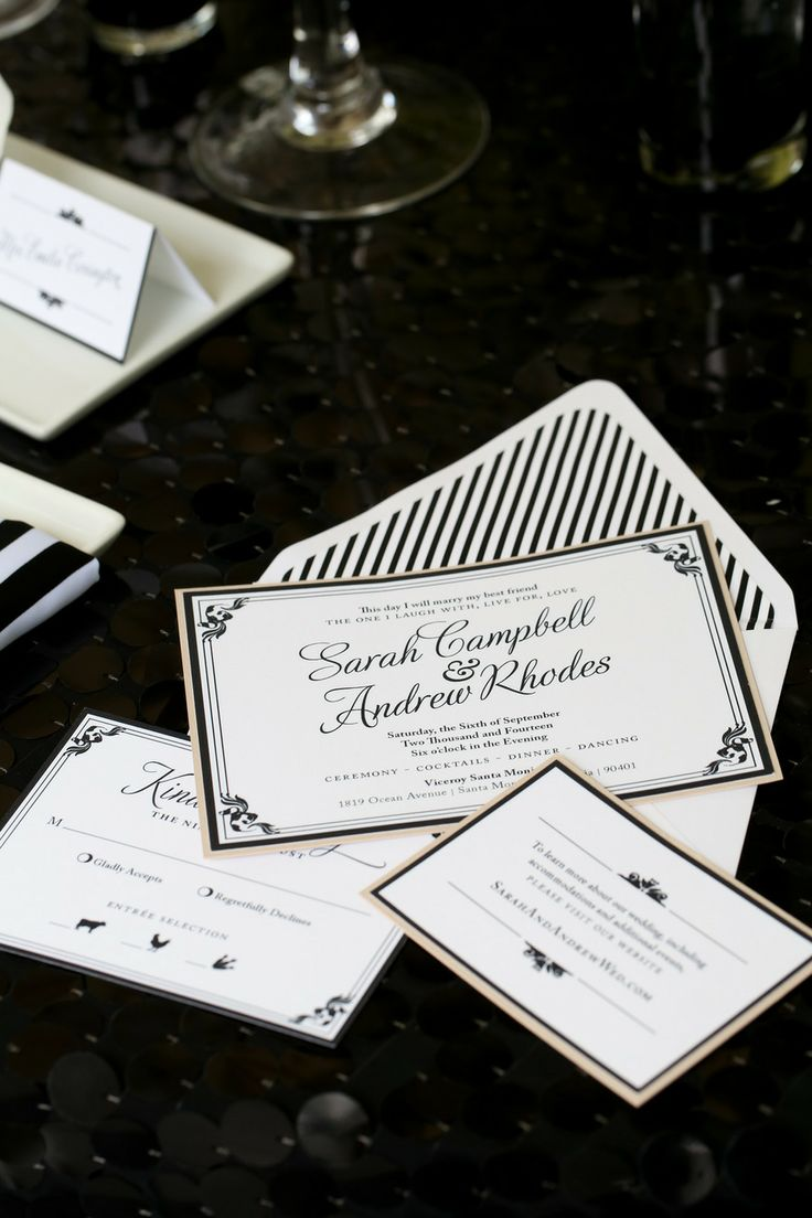 Modern Meets Old Hollywood Wedding Invitation Set