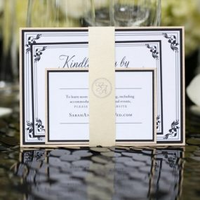 Modern Meets Old Hollywood Wedding Invitation Set with Monogram Belly Band