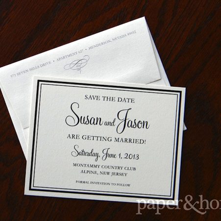 Simple Elegant Black Border Shimmer Save the Date