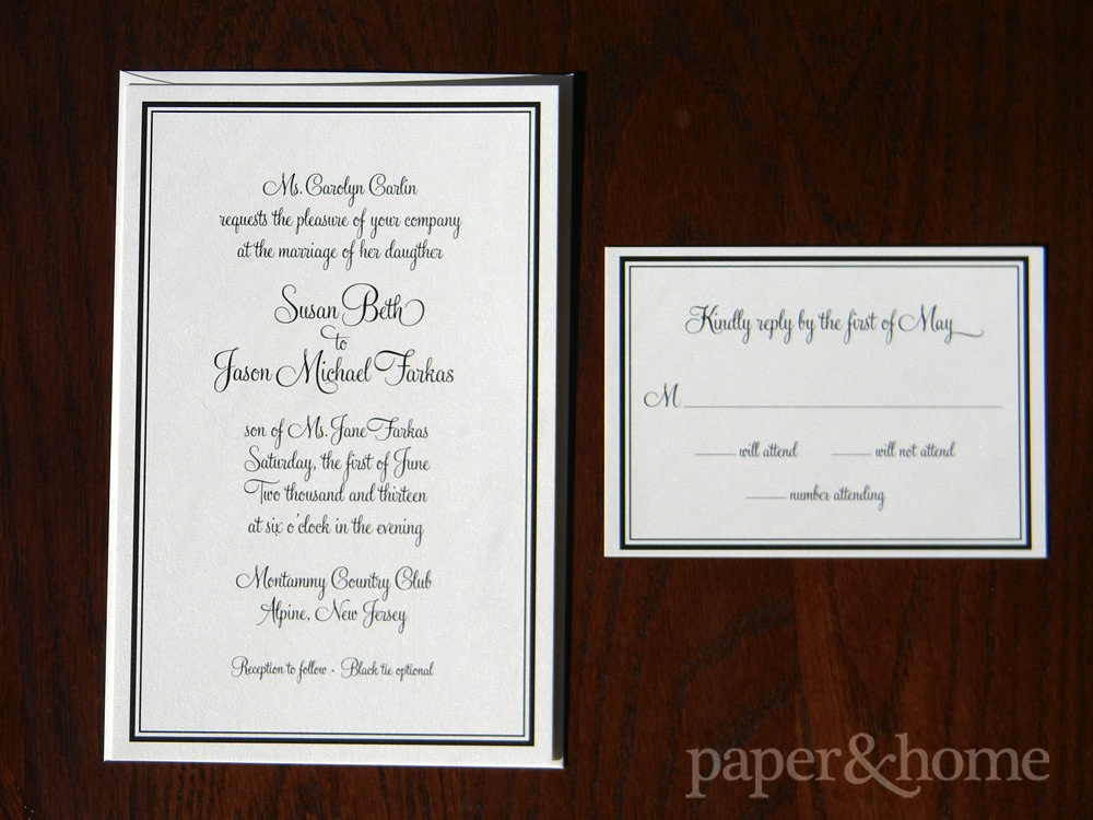 Simple Elegant Black Border Shimmer Wedding Invitation and Reply Card