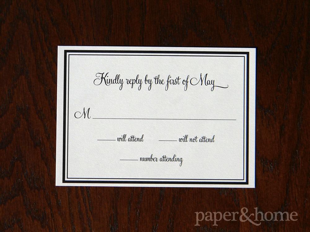 Simple Elegant Black Border Shimmer Reply Postcard