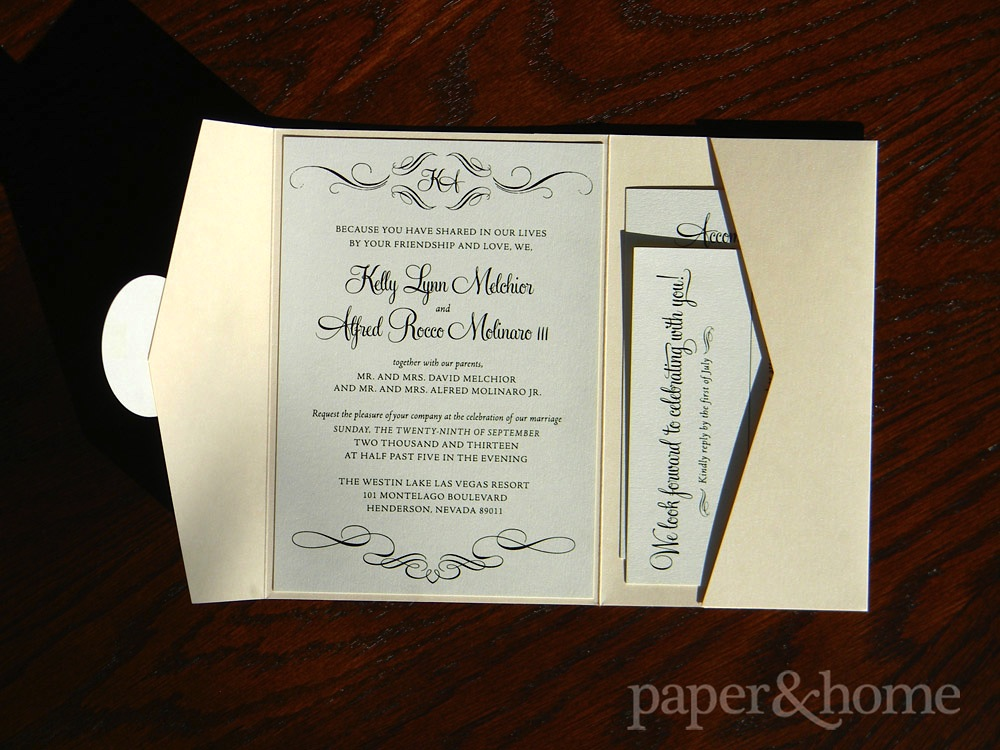 Cream and Pearl Shimmer Pocket Wedding Invitation Suite