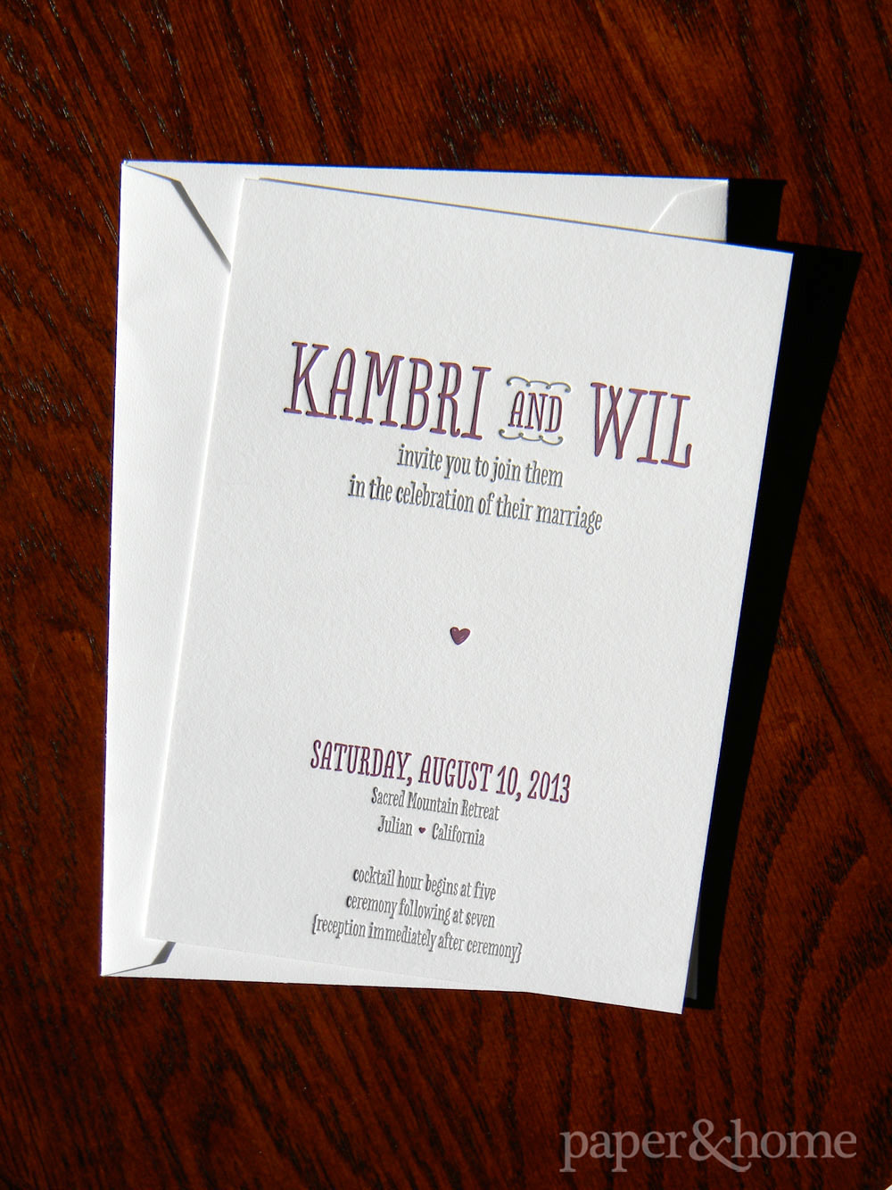 Purple and Gray, Cute and Modern Letterpress Wedding Invitation