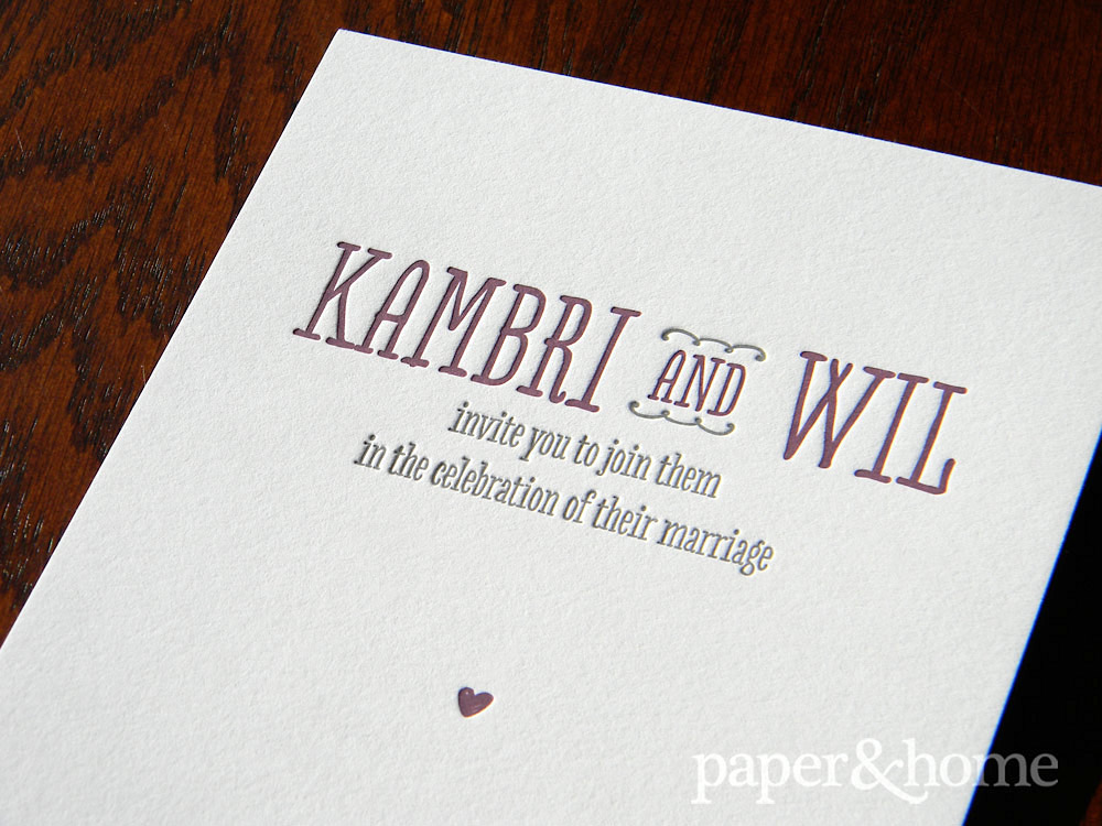 Purple and Gray, Cute and Modern Letterpress Wedding Invitation Detail