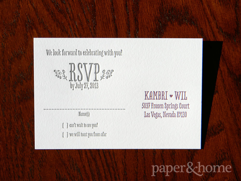 Purple and Gray, Cute and Modern Letterpress Reply Post Card