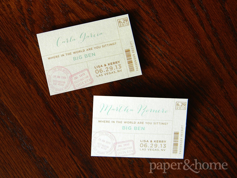 Pair of Boarding Pass Travel Destination Escort Cards