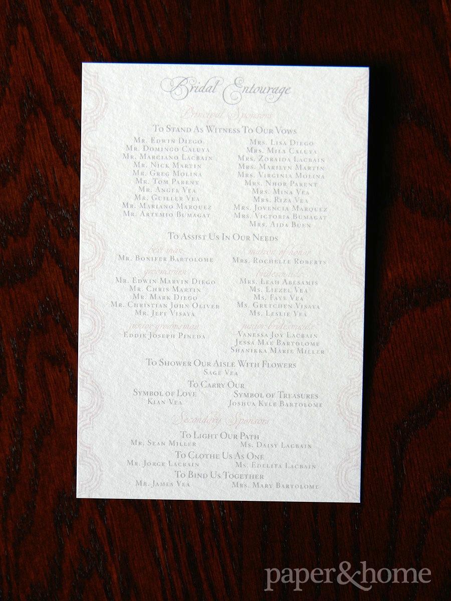 Vintage Inspired Wedding Ceremony Program