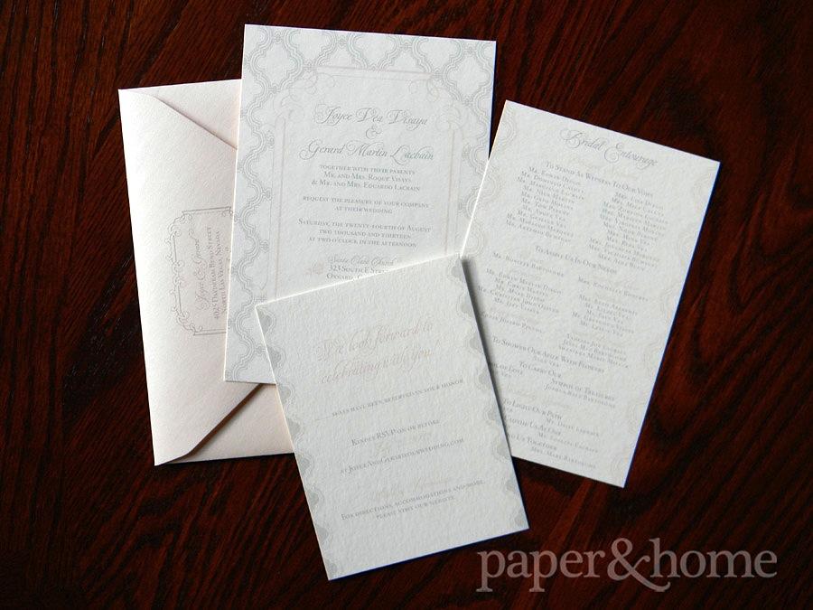 Vintage Wedding Invitations Las Vegas: Joyce & Gerard - Paper and Home