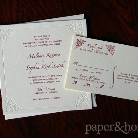 Burgundy and Blind (White) Letterpress Wedding Invitation and Reply Post Card