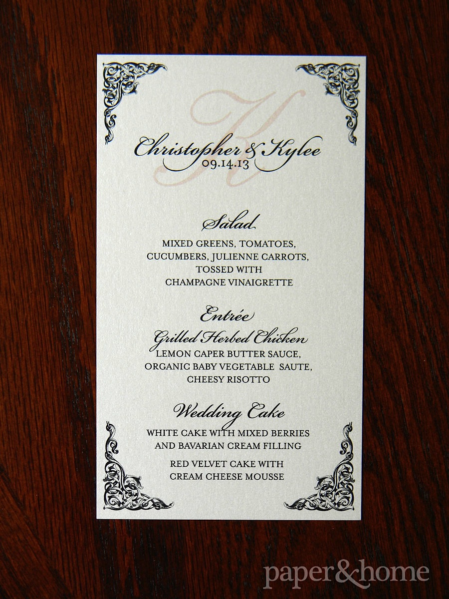 Blush pink and black ornate menu card