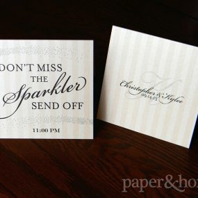 Blush pink and black wedding sparkler send off tented sign