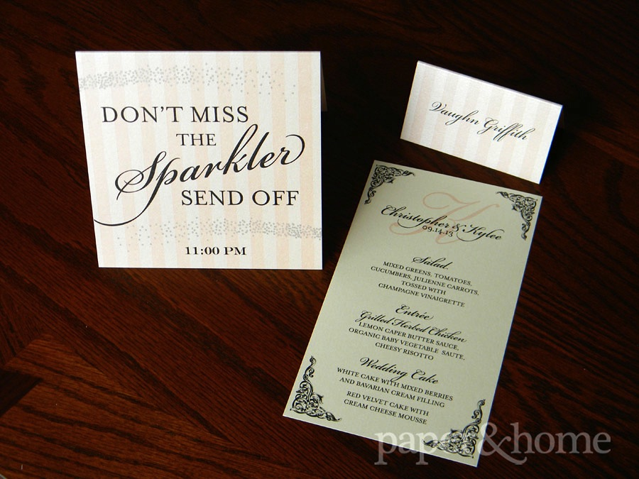 Blush pink and black wedding stationery accessory set