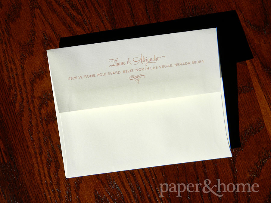 Thank You Note Cream Envelope with Return Address on Flap