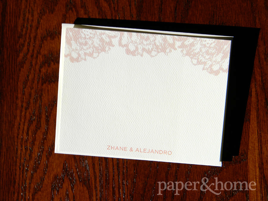 Felt Paper Thank You Note with Rust Orange Lace Design