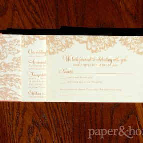 Rust Orange Tiered Wedding Invitation Suite on Felt Paper with Lace Elements
